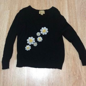 Black sweater with sunflower sequin detail